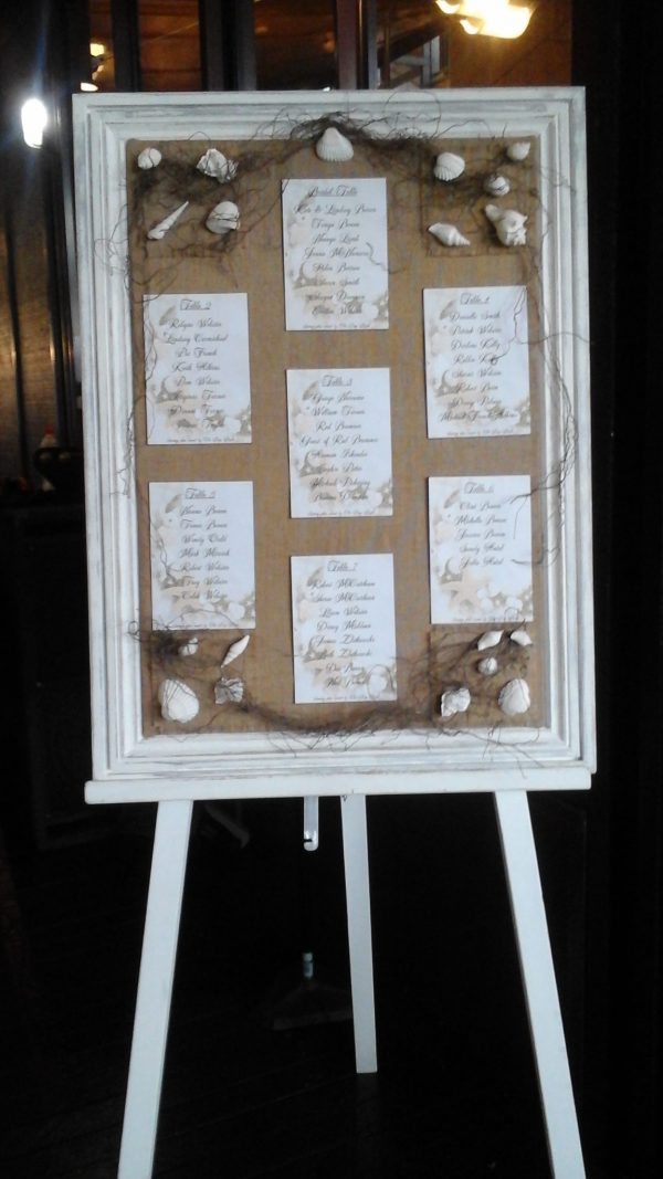 White Timber Easel with seating plan