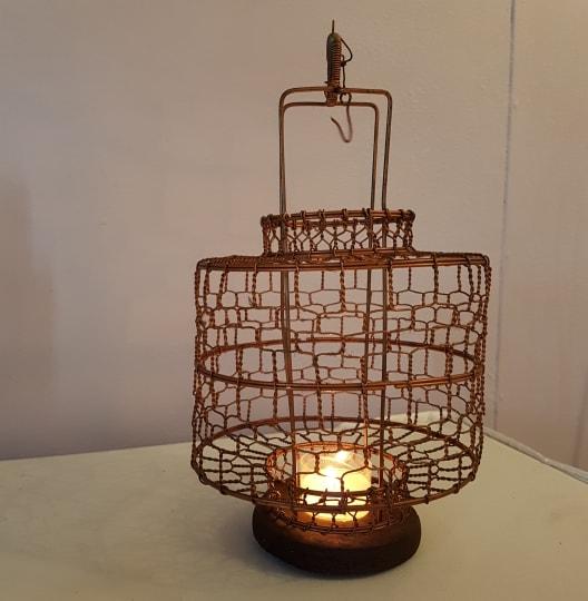 Geometric Copper Lantern