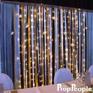Backdrop - Satin hessian and ribbon