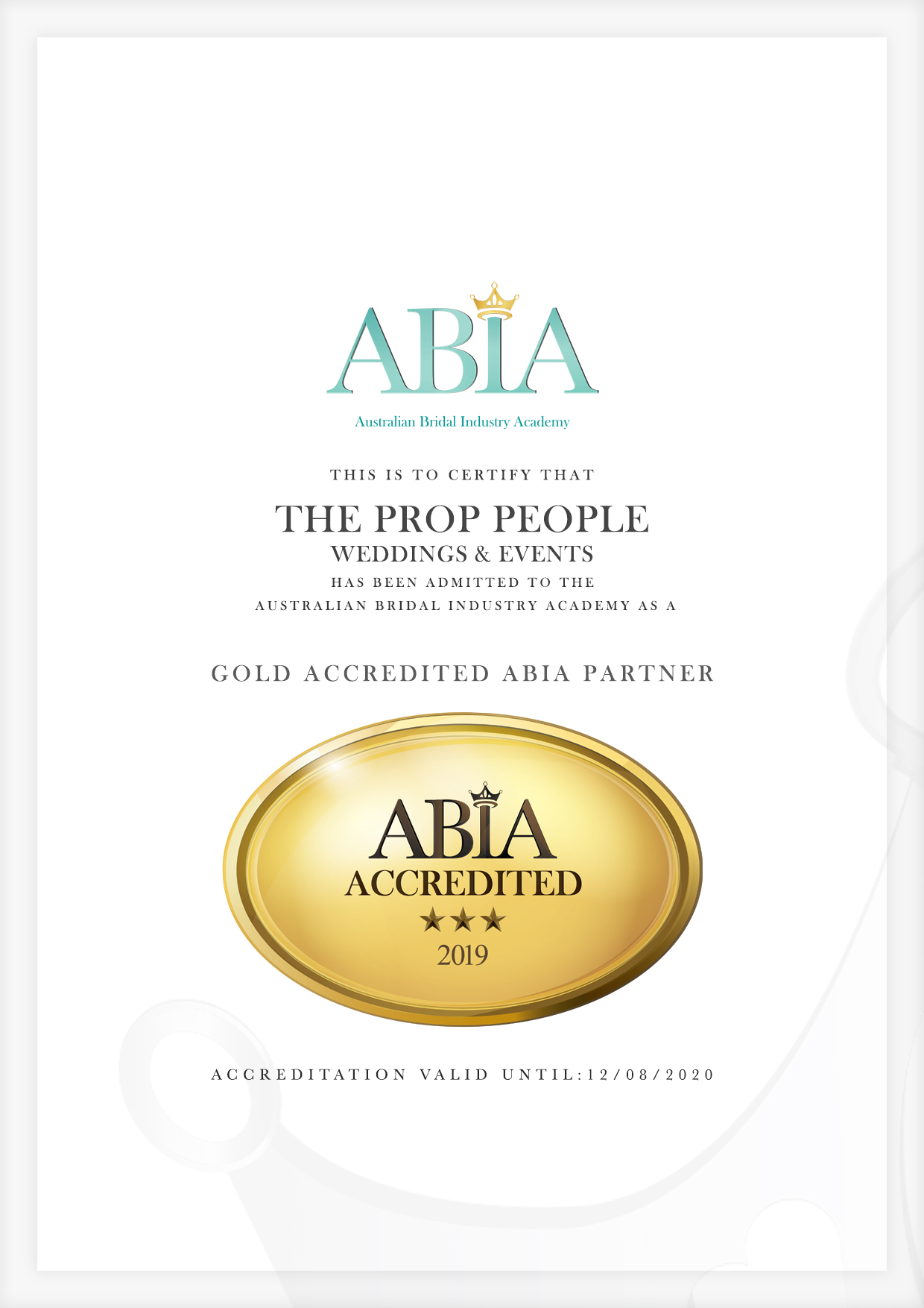 ABIA-Accreditation-Certificate-The Prop People Weddings & Events