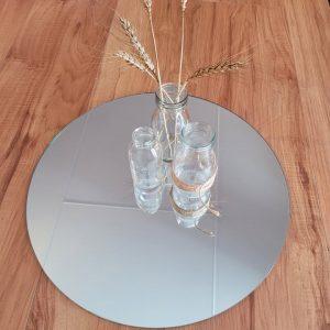 40cm round mirror with 3 glass jars